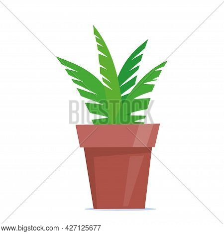 Cute Green Potted Plant In Flat Style. Vector Illustration.