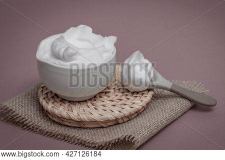 Airy Soap Foam In A White Bowl, Hygiene, Skin Care, White Airy Cream