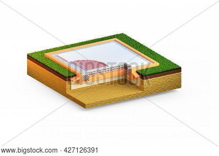 Warmed Reinforced Concrete Slab Basement, Isolated Cgi Industrial 3d Illustration
