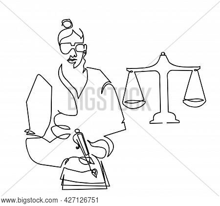 One Line Drawing Of Lawyer Dicussing Contract Papers With Brass Scale. One Continuous Line Drawing O
