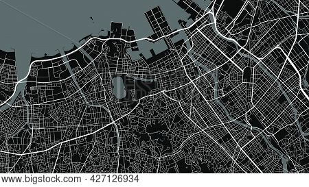 Map Of Fukuoka City, Japan. Horizontal Background Map Poster Black And White Land, Streets And River