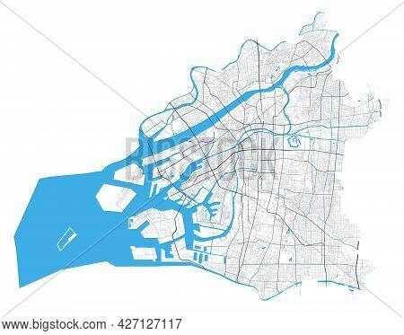 Osaka City Map. Detailed Map Administrative Area, Land Panorama. Royalty Free Vector Illustration. O