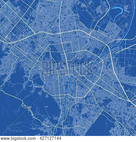 Detailed Map Of Sapporo City Administrative Area. Royalty Free Vector Illustration, Land Panorama. D