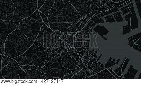 Map Of Yokohama City, Japan. Horizontal Background Map Poster Dark Black Land, Streets And Rivers. 1