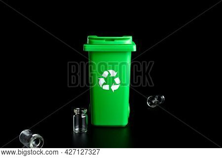 Trash Glass Sort. Bin Container For Disposal Garbage Waste And Save Environment. Green Dustbin For R