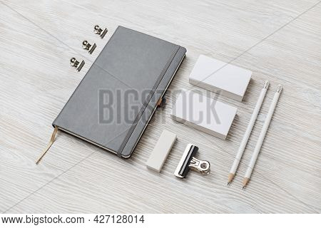 Business Stationery Mock-up. Blank Template For Branding Identity On Light Wooden Background. For Gr