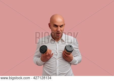 Funny Bald Man With Bristle, Fooling, Makes Tits With Two Disposable Paper Cups, , Shows Tongue, Wea
