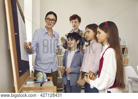 Female Teacher Explaining Topic To Pupils On Geography Lesson At Classroom