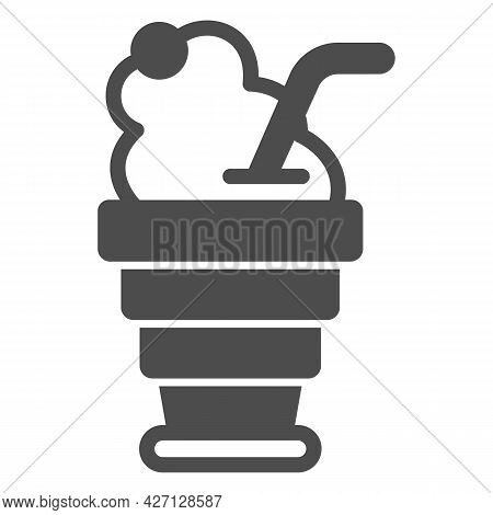 Foldable Cup, Cherry Juice Oxygen Foam Solid Icon, Icecream Concept, Cherry Juice Vector Sign On Whi
