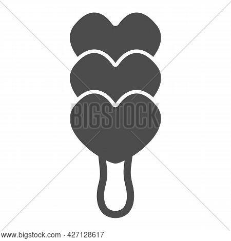 Ice Cream On Stick Solid Icon, Icecream Concept, Icecream Heart Vector Sign On White Background, Thr