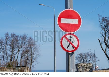 Traffic Is Not Permitted. Road Signs. Passage Is Forbidden. Road Repairs.