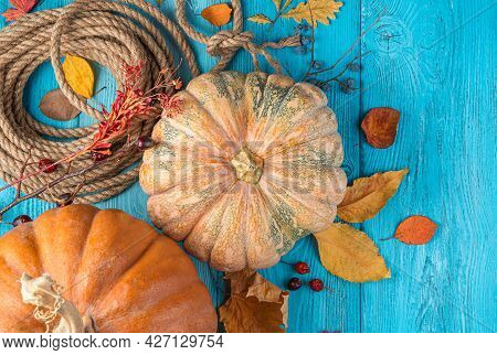 Pumpkins, Autumn Foliage And Berries On A Blue Background. Top View, Copy Space. Autumn Holidays, Ha