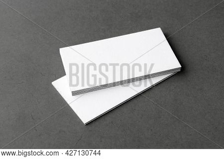 Business Cards Blank. Mockup On Gray Background.  Copy Space For Text.