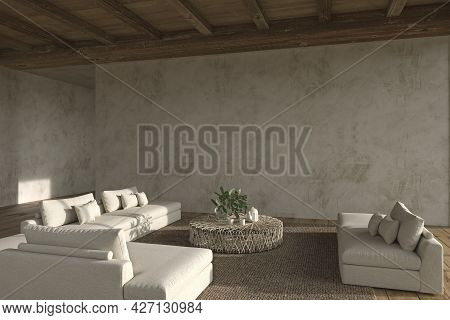 Modern Interior Design Open Space Living Room. Stucco Wall Mock Up. House Residential 3d Render Illu
