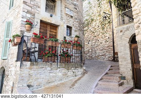 Assisi Village In Umbria Region, Italy. The Town Is Famous For The Most Important Italian St. Franci