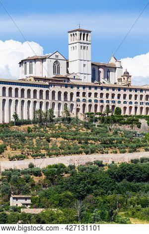 Assisi Village In Umbria Region, Italy. The Most Important Italian St. Francis Basilica (basilica Di