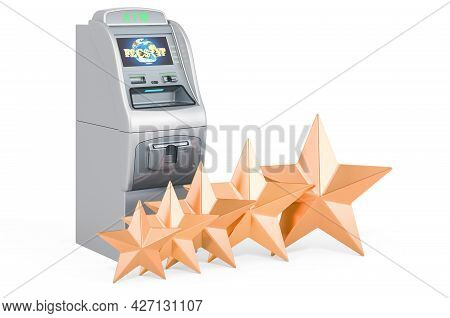Atm Machine With Five Golden Stars. Customer Rating Of Banking Service. 3d Rendering Isolated On Whi