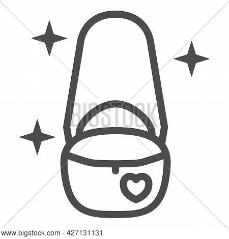 Women Handbag On Chain Line Icon, 8 March Concept, Handbag Purse Sign On White Background, Beautiful