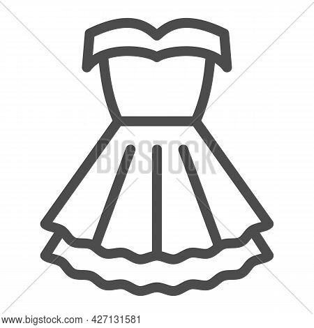 Women Party Dress Line Icon, 8 March Concept, Classic Fashion Cloth For Woman Sign On White Backgrou