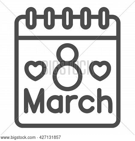 International Women Day Calendar Line Icon, 8 March Concept, Calendar Day On 8th March Sign On White