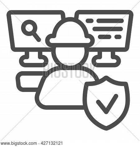 It Specialist At Work Line Icon, Pcrepair Concept, It Specialist Vector Sign On White Background, Ma