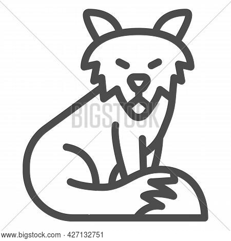 Fox Line Icon, Worldwildlife Concept, Old Fox Vector Sign On White Background, Old Fox Outline Style