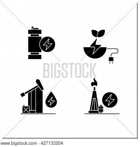 Energy Glyph Icons Set. Oil, Gas Power. Modular Mini Reactor, Biomass Energy. Power Stations. Electr