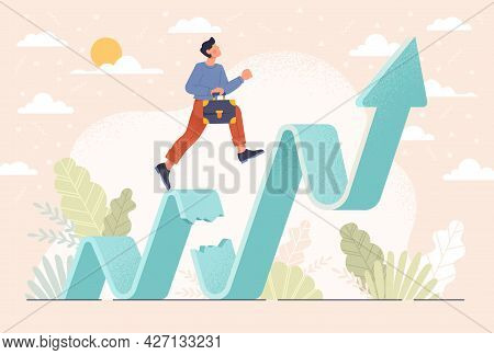 Business Challenge, Revenue Rebound Recover From Economic Crisis Or Earning And Profit Growth Jump F
