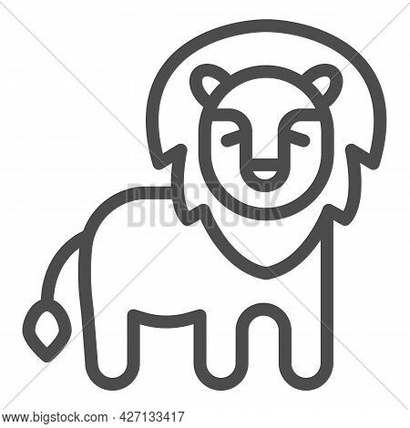 African Lion Line Icon, Worldwildlife Concept, African Lion Vector Sign On White Background, Lion Ou