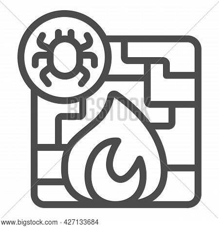 Virus And Firewall Line Icon, Pcrepair Concept, Protection Wall And Fire Vector Sign On White Backgr