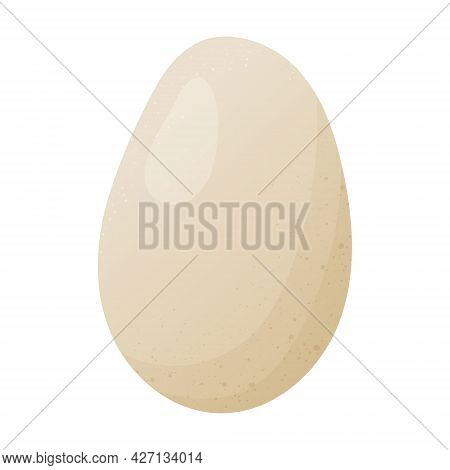 Simple Vector Cartoon Image Of A White Chicken Egg. Healthy Natural Food Rich In Calcium.