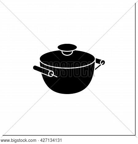Stockpot Glyph Icon. Cooking Pot. Special Equipment Used To Cook Soup. Kitchen Tools Concept. Filled