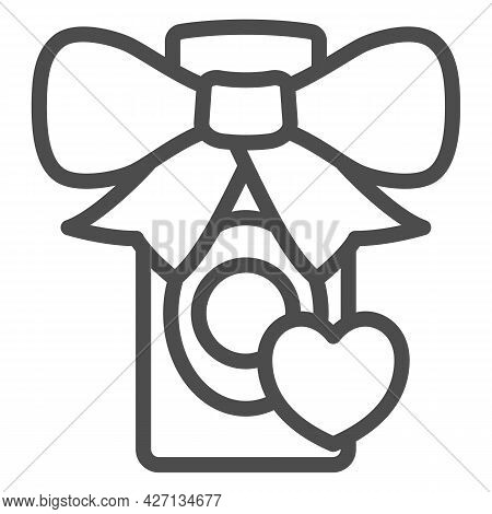 Perfume Gift For Loved One Line Icon, 8 March Concept, Gift For Woman Sign On White Background, Perf