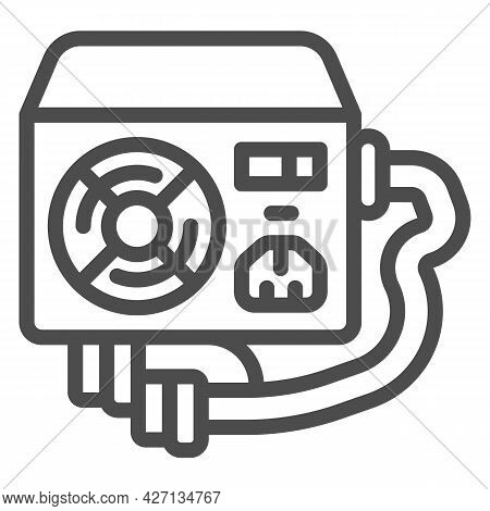 Power Supply Unit Line Icon, Pcrepair Concept, Fan, Mains Socket And Connectors Vector Sign On White