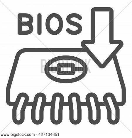 Microcircuit With Bios Chip Line Icon, Pcrepair Concept, Bios Chip Vector Sign On White Background,