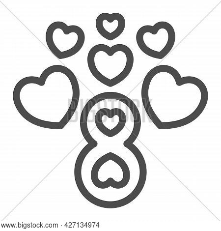 Eight Number With Hearts Line Icon, 8 March Concept, Women Day Greeting Card Sign On White Backgroun
