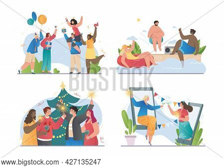 Set Of Scenes With Young Happy Diverse Multiracial People Celebrating Different Holidays, New Year A