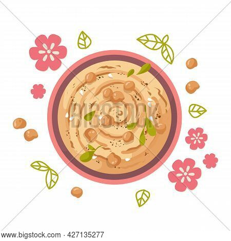 A Plate Of Hummus, A Traditional Indian Dish Made From Chickpeas, Surrounded By Pink Flowers. Health