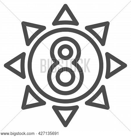 Eight In Sun Line Icon, 8 March Concept, Sun Symbol With Eight Number On White Background, Sunny Wom
