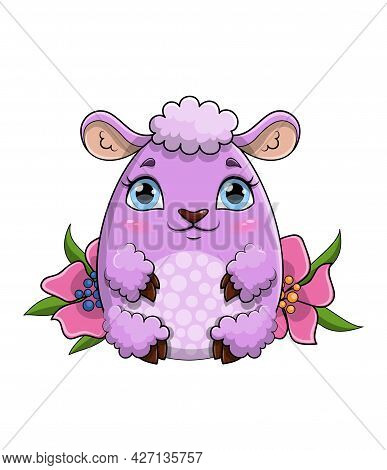 Pretty Little Purple Sheep With Fluffy Wool Coat Sitting Amongst Flowers In Spring, Colored Flat Car