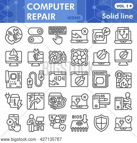 Pcrepair Line Icon Set, Computer Symbols Collection Or Sketches. Pc Repair Linear Style Signs For We
