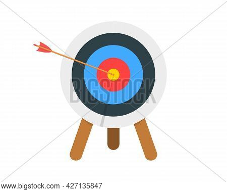 Archery Target Ring With Arrow Hitting Bullseye Isolated On White Background. Dartboard On Tripod Fr