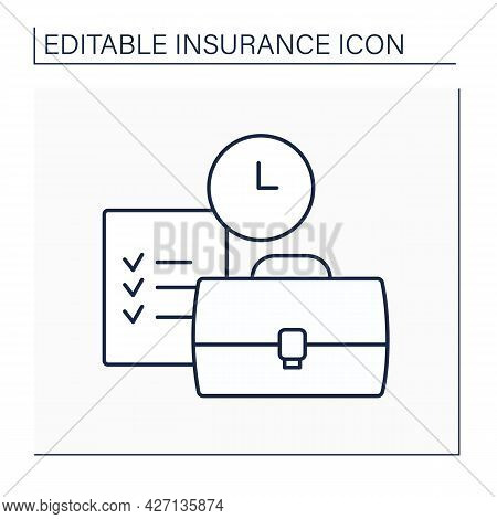 Liability Line Icon. State Of Being Legally Responsible. Protection Against Claims Resulting From In