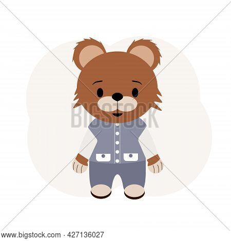 Illustration Of A Teddy Bear In Trousers And A Vest