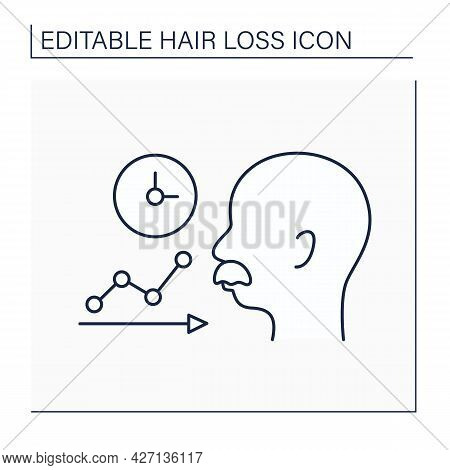 Hair Loss Line Icon. Balding Due To Age. Old Man Loses Hair And Is Bald.alopecia Concept. Isolated V