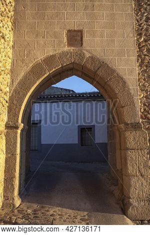 Galisteo, Beautiful Walled Town From Alagon Valley. Puerta De La Villa, West Enclosure. Extremadura,