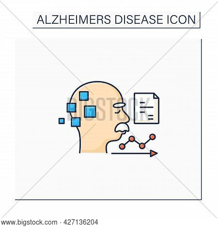Statistics Color Icon. Statistic Alzheimer Diseases. Sick People Number. Neurologic Disorder Concept
