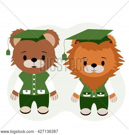 Illustration Of Teddy Bear And Lion Cub Pupils In Trousers, Vests And Shirts