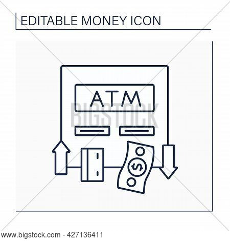 Automated Teller Machine Line Icon. Machine Makes It Convenient To Manage Bank Account. Getting Mone