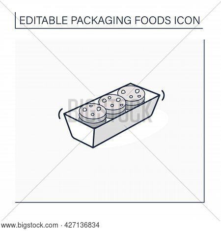 Cookies Line Icon. Tasty Cookies In Plastic Package. Portion Control, Protection, Tampering Resistan